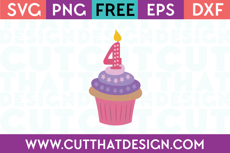 Free SVG Cupcake Number 4 Candle