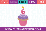 Free SVG Cupcake Candle Number 6