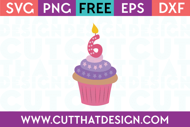 Free SVG Files Cupcake Candle Number 6