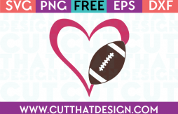 Free Football SVG Cut Files Heart Design
