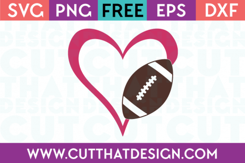 Free Football SVG Cut Files Heart Design