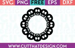 Free SVG Files Skull Circle Monogram Frame