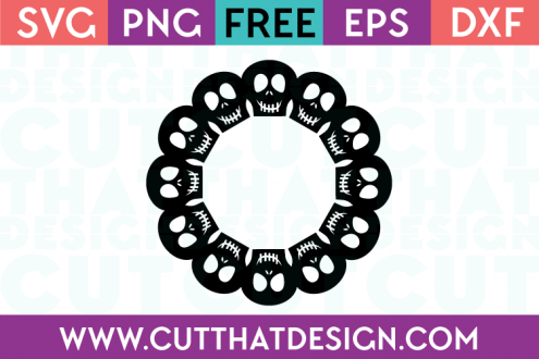 Free SVG Files Skull Circle Monogram Frame