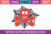 Free SVG Files Skull and Crossbones Spider Web Design