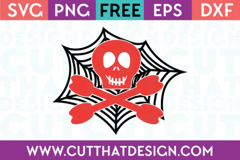 Free SVG Files Skull and Crossbones Spider Web Design