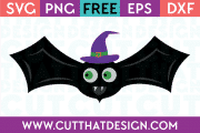 Free SVG Files Halloween Bat with Witch Hat