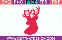 Free SVG Files Reindeer Head with Christmas Lights