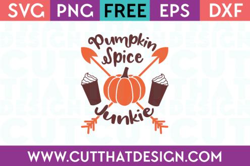 Free Pumpkin Spice Junkie Phrase SVG Cut File