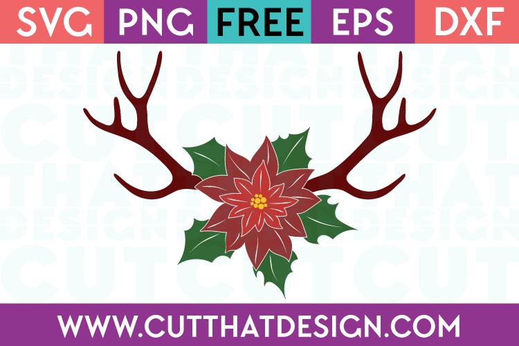 Christmas Reindeer Antlers Poinsettia Design