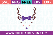Free Reindeer with Bow SVG Cutting File