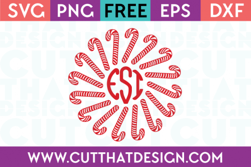 Free Candy Cane Monogram Circle Frame SVG Cutting File