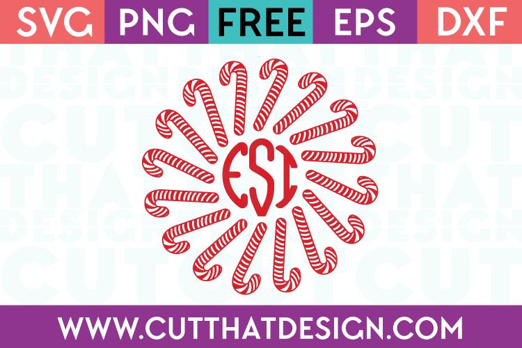 Free Candy Cane Monogram Circle Frame SVG Cutting File