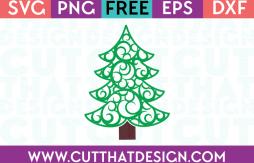 Free SVG Files Swirly Christmas Tree