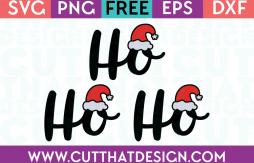 Free SVG Files Ho Ho Ho Phrase Design with Hat