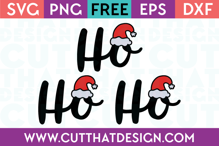 Free SVG Files Ho Ho Ho Phrase Design with Hat
