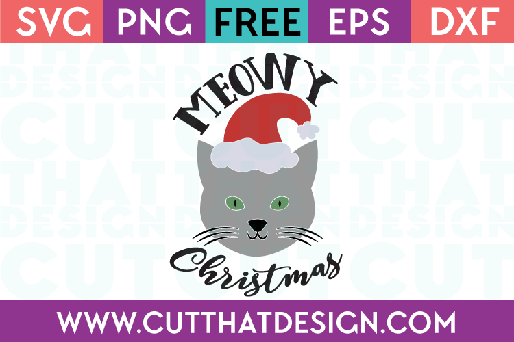 Free SVG Files Meowy Christmas Cat Design