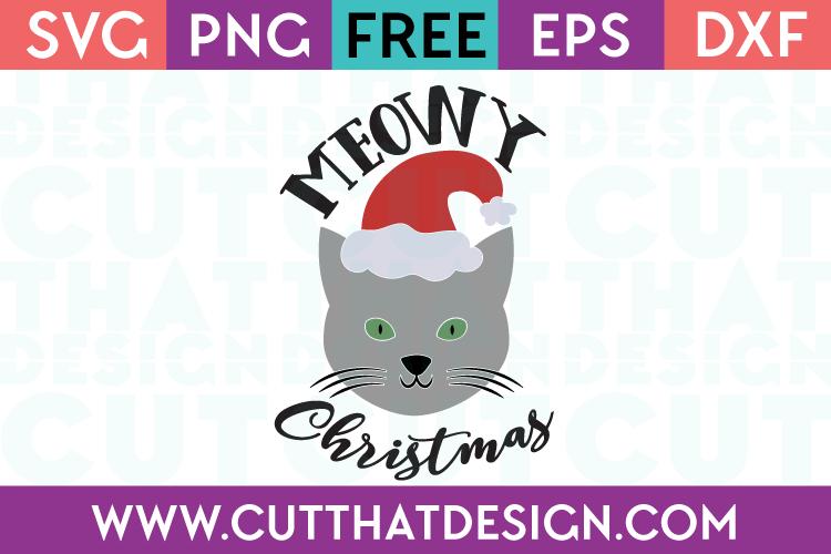 Free SVG Files Meowy Christmas Cat Design