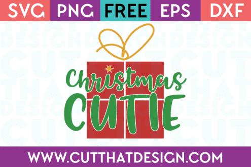 Free SVG Files Christmas Cutie Phrase Design