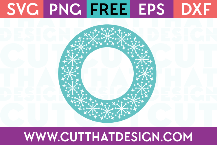 Free SVG Files Snowflake Circle Monogram Frame Design 1