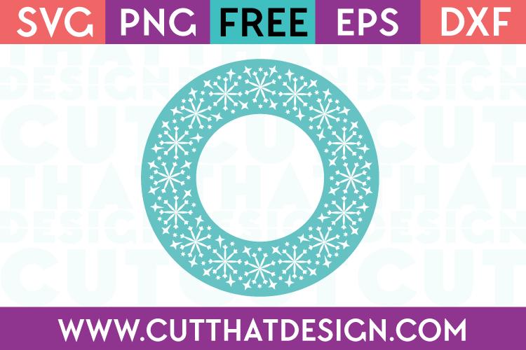 Free SVG Files Snowflake Circle Monogram Frame Design 1