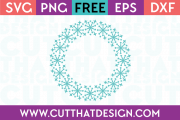 Free SVG Files Snowflake Circle Monogram Frame Design 2