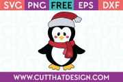 Free SVG Files Christmas Penguin with Santa Hat