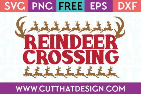 Free SVG Files Christmas Reindeer Crossing