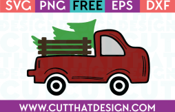 Free SVG Files Christmas Vintage Red Truck with Christmas Tree