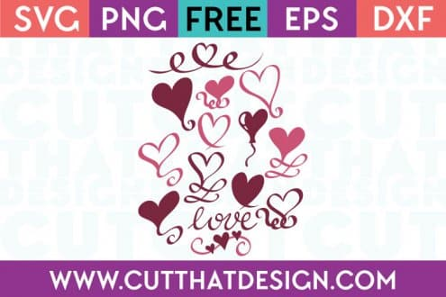 Free SVG Files Love Heart Swirls Design