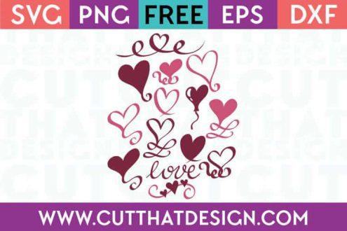 Free SVG Files Love Heart Swirls Design