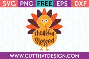 Free SVG Files Thankful Blessed Turkey Design
