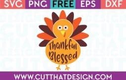 Free SVG Files Thankful Blessed Turkey Design