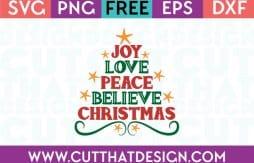 Free Cut Files Joy Love Peace Believe Christmas Tree