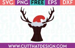 Free Christmas SVG Deer Head with Santa Hat