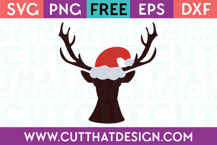 Free Christmas SVG Deer Head with Santa Hat