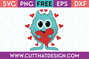 Free SVG Files Valentines Monster with Love Heart