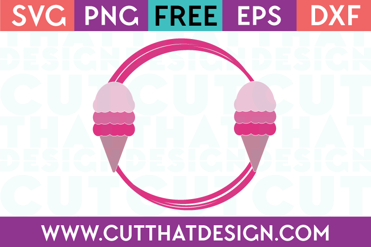 Free Cut File Ice Cream Monogram Frame 2 SVG