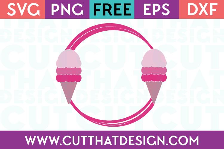 Free Cut File Ice Cream Monogram Frame 2 SVG