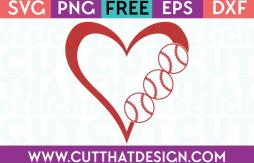 Baseball SVG Heart Free