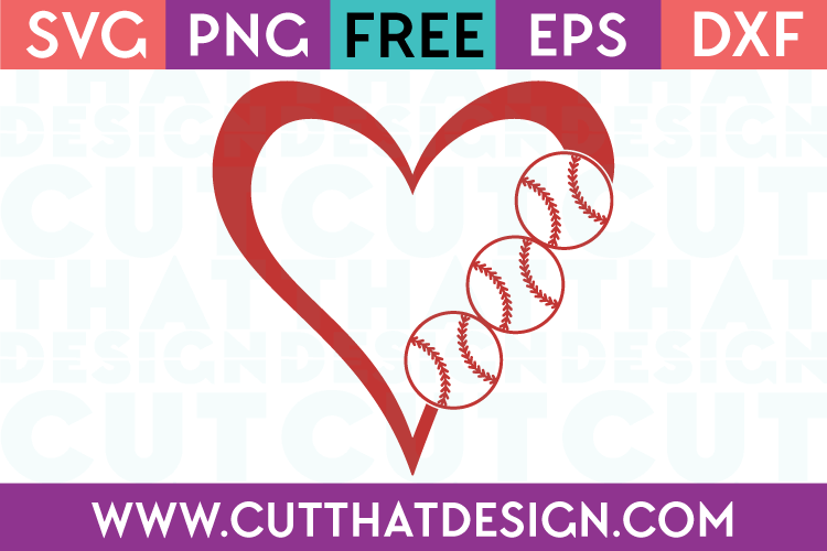Baseball SVG Heart Free