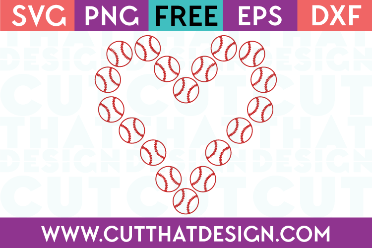 Free SVG Files Baseball Heart