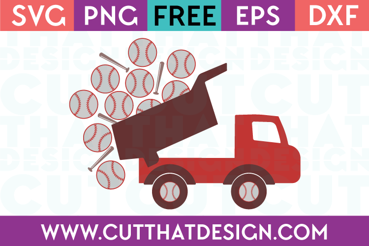 Free SVG Files Baseball Truck with Bats