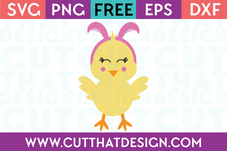 Easter SVG Free Chick with Bunny Ears