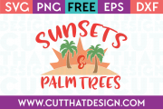 Free SVG Summer Sunsets and Palm Trees