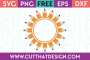 Free SVG Files School Pencil Monogram Frame Design