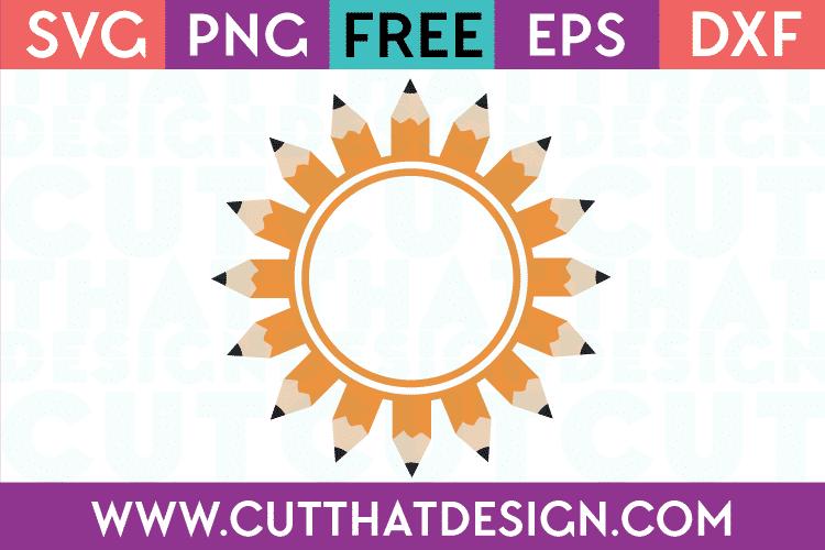 Free SVG Files School Pencil Monogram Frame Design