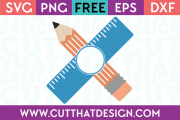 Free SVG Files Pencil and Ruler Monogram Design