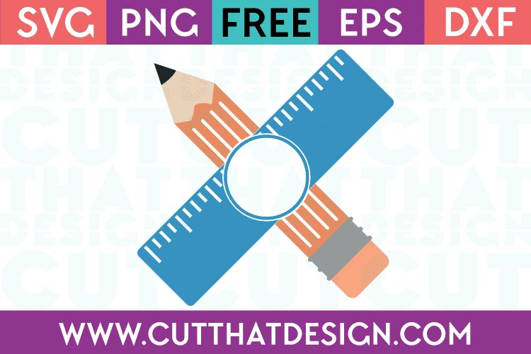 Free SVG Files Pencil and Ruler Monogram Design