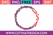 Free 4th July Circle Frame Monogram