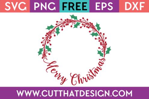 Free SVG Merry Christmas Monogram Circle Frame